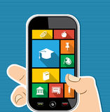 För appsutbildning för färgrik mänsklig hand mobil ico för lägenhet Royaltyfria Foton