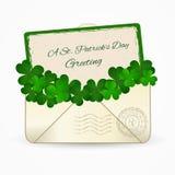För berömhälsning för St Patrick Day ett kuvert för post också vektor för coreldrawillustration Fotografering för Bildbyråer