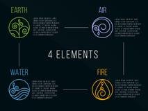 För beståndsdelcirkel för natur 4 tecken för logo Vatten brand, jord, luft På mörk bakgrund Arkivbild