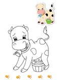 för bokfärgläggning för 16 djur ko Royaltyfri Bild