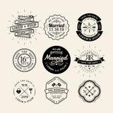 För brölloplogo för tappning retro beståndsdel för design för emblem för ram Royaltyfria Bilder