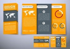 För broschyrdesign för mall trefaldigt hopfällbart material för stil Fotografering för Bildbyråer