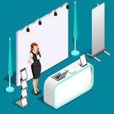 För båsställning för utställning 3D illustration för vektor för folk isometrisk Arkivfoto