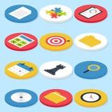 För cirkelsymboler för plan affär isometrisk uppsättning Arkivbild