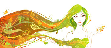 för dagfall för höst gå kvinna för härlig skog Arkivfoton