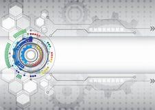 För datateknikaffär för abstrakt futuristisk strömkrets hög bakgrund Royaltyfri Bild