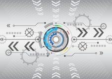 För datateknikaffär för abstrakt futuristisk strömkrets hög bakgrund Royaltyfri Foto