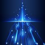 För datateknikaffär för abstrakt futuristisk strömkrets hög illustration för vektor för bakgrund Arkivbilder