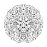 För Deco för vektor härlig stjärna monokrom kontur, mönstrad designbeståndsdel Royaltyfri Fotografi