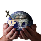 Für den Gott so geliebt der Welt? Holding in seinen Händen Stockfotografie