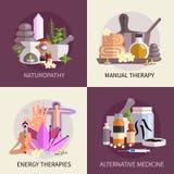 För designbegrepp för alternativ medicin uppsättning Arkivfoton