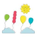 För det ballongsolen och molnet för tecknad film parkerar färgrika symboler för den lyckliga födelsedagen, rekreation objektet, f Fotografering för Bildbyråer