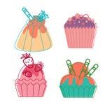 För efterrättsamling för färgrik muffin söt uppsättning Arkivfoton