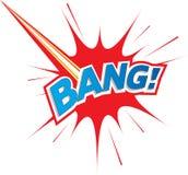 för explosionsymbol för smäll komisk text för logo Royaltyfria Bilder