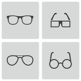 För exponeringsglassymboler för vektor svart uppsättning Royaltyfri Foto