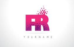 FR F.R.与桃红色紫色颜色和微粒小点Des的Letter Logo 免版税图库摄影