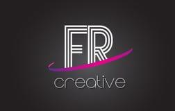 FR F.R.与线设计和紫色Swoosh的Letter Logo 免版税库存图片