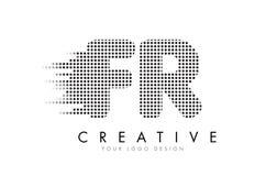 FR F.R.与黑小点和足迹的Letter Logo 免版税库存照片