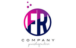 Fr F.R. Circle Brief Logo Design met Purper Dots Bubbles Royalty-vrije Stock Afbeelding