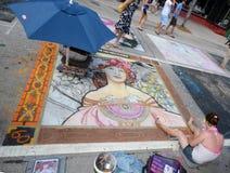 För FL för sjö värda konstnärer för krita trottoar Arkivbild