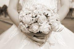 för fokusförgrund för 3 bukett bröllop Sepia Royaltyfria Foton