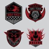 för för emblemuppsättning och design för moto tävlings- beståndsdelar Arkivfoto