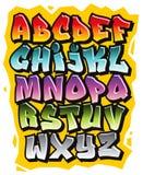 För grafittiklotter för tecknad film komiskt alfabet för stilsort vektor Arkivfoton