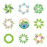 För grönt symboler för logo för energi för landskap ecosystem för natur härliga lösa Royaltyfria Bilder
