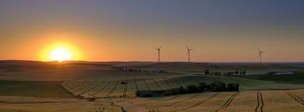 Fr?hling, der Licht und Sonnenuntergang auf der Landschaft nahe Arroyo Del Olivillo zwischen Sanlucar und Jerez de la Frontera, C stockbild