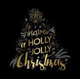 För hälsningkort för glad jul guld- design för klotter Royaltyfri Foto