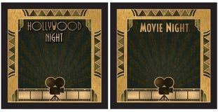 För Hollywood för filmnatt inbjudan natt Arkivbilder