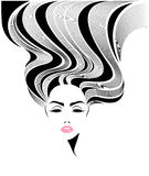 För hårstil för kvinnor vänder mot den långa symbolen, logokvinnor på vit bakgrund Arkivbild