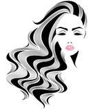 För hårstil för kvinnor vänder mot den långa symbolen, logokvinnor på vit bakgrund Royaltyfria Bilder