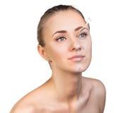 För hudomsorg för ung kvinna begrepp Fotografering för Bildbyråer