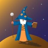 För illustrationtecknad film för vektor EPS10 gammal trollkarl Royaltyfri Bild
