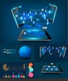 För infographicsaffär för vektor modern com för teknologi Arkivbild