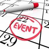 För kalenderdatum för händelse ord cirklat möte för parti för dag specialt Royaltyfria Bilder