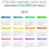 För kalenderitalienare för 2015 färgpennor version Arkivbild