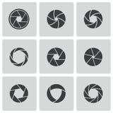 För kameraslutare för vektor svart uppsättning för symboler Royaltyfri Foto