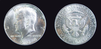 för kennedy för dollar för 1964 mynt half silver USA frihet Arkivbilder