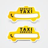 För klistermärkeform för taxi tjänste- telefon för tecken Royaltyfria Bilder