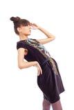 för klänningmode för färg mörk modell Royaltyfri Bild