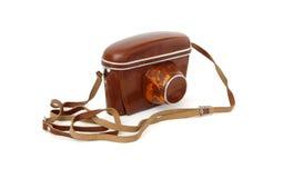 för läderfoto för kamera fall isolerad tappning för red Royaltyfria Foton