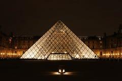 för luftventilmuseum för du france paris för natt sikt Arkivbild