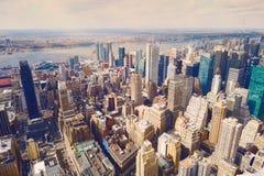 för manhattan för flyg- stad sikt york ny horisont Arkivfoton