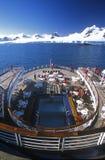 För Marco Polo för kryssningskepp däck baksida, Antarktis Arkivfoto