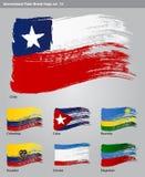 För målarfärgborste för vektor internationella flaggor Arkivfoton