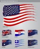 För målarfärgborste för vektor internationella flaggor Royaltyfria Foton