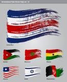 För målarfärgborste för vektor internationella flaggor Royaltyfria Bilder