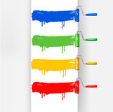 för målarfärgrulle för borstar färgrik set vektor Arkivbild